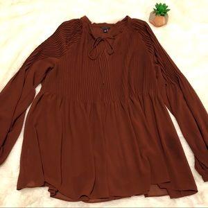 Ann Taylor Rustic Sheer Long Sleeve Blouse NWOT